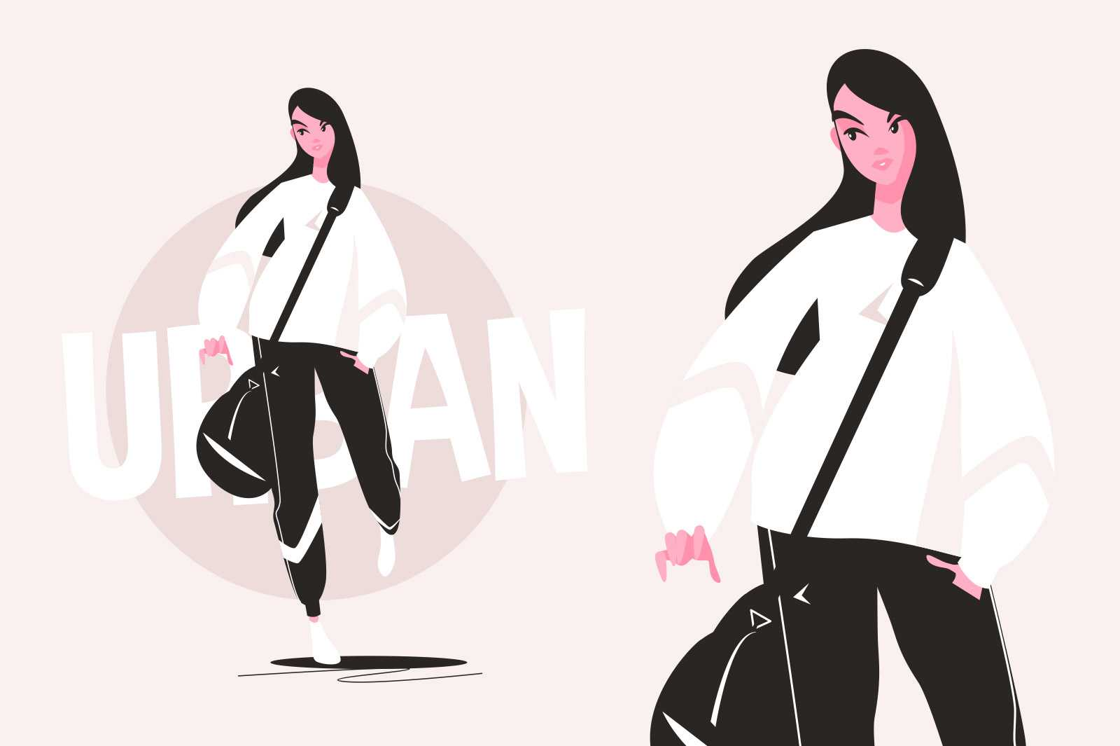 Stylish young urban girl vector illustration. Woman in sport costume with black bag flat style. Fashionable character. Fashion and street style concept. Isolated on pink background
