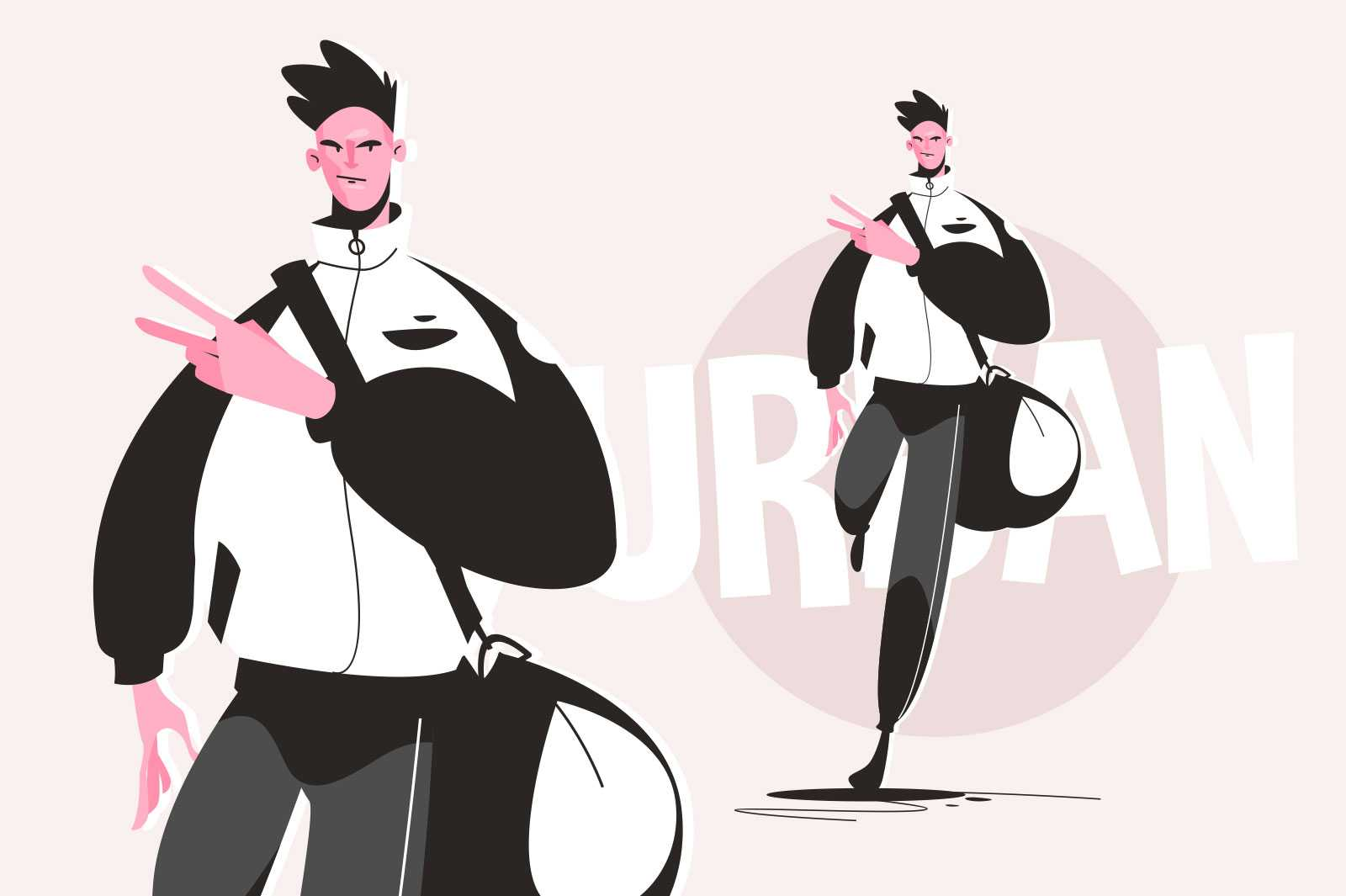 Well dressed urban guy vector illustration. Stylish man dressed in sport costume showing peace sign flat style. Fashion and street style concept. Isolated on pink background