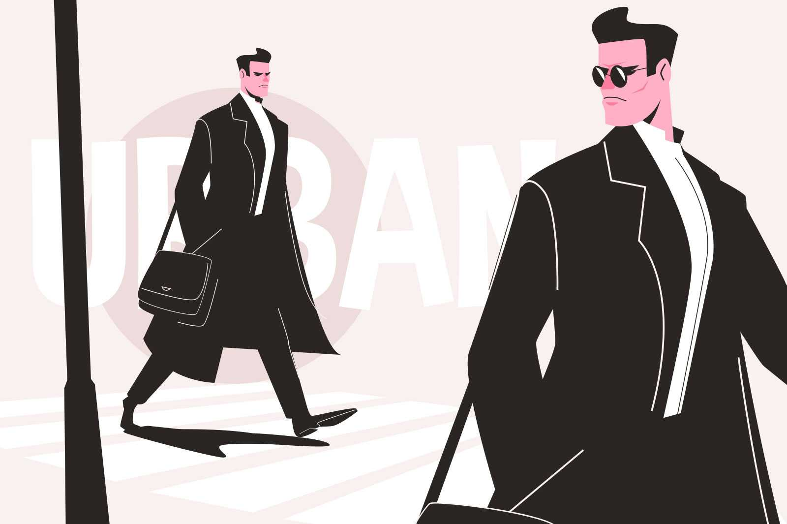 Urban man in raincoat vector illustration. Serious person dressed in total black flat style. Fashionable guy walk on street. Fashion and trend concept. Isolated on pink background