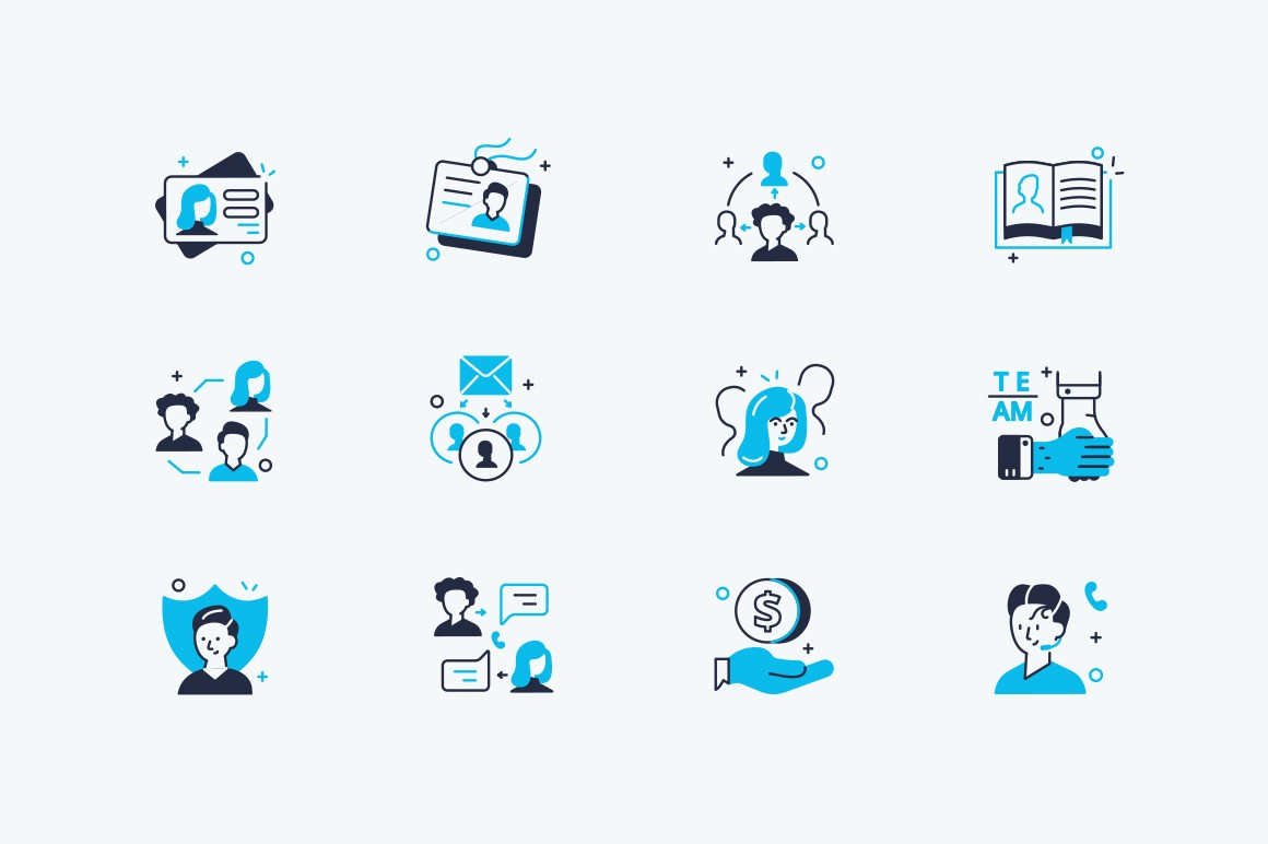 Users icons set vector illustration. Collection consist of profile, communication, messaging, video calling and social media symbols flat style concept. Isolated on white