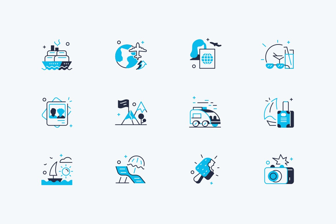 Travelling icons set vector illustration. Composition consist of transport, photos, camping, sea beach, ice-cream, suitcases and camera vacation symbols flat style concept. Isolated on white