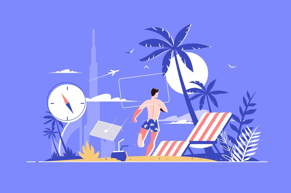 Man at picturesque seaside vector illustration. Guy vacationer throwing away laptop on beach and running swimming in ocean flat style design. Rest concept