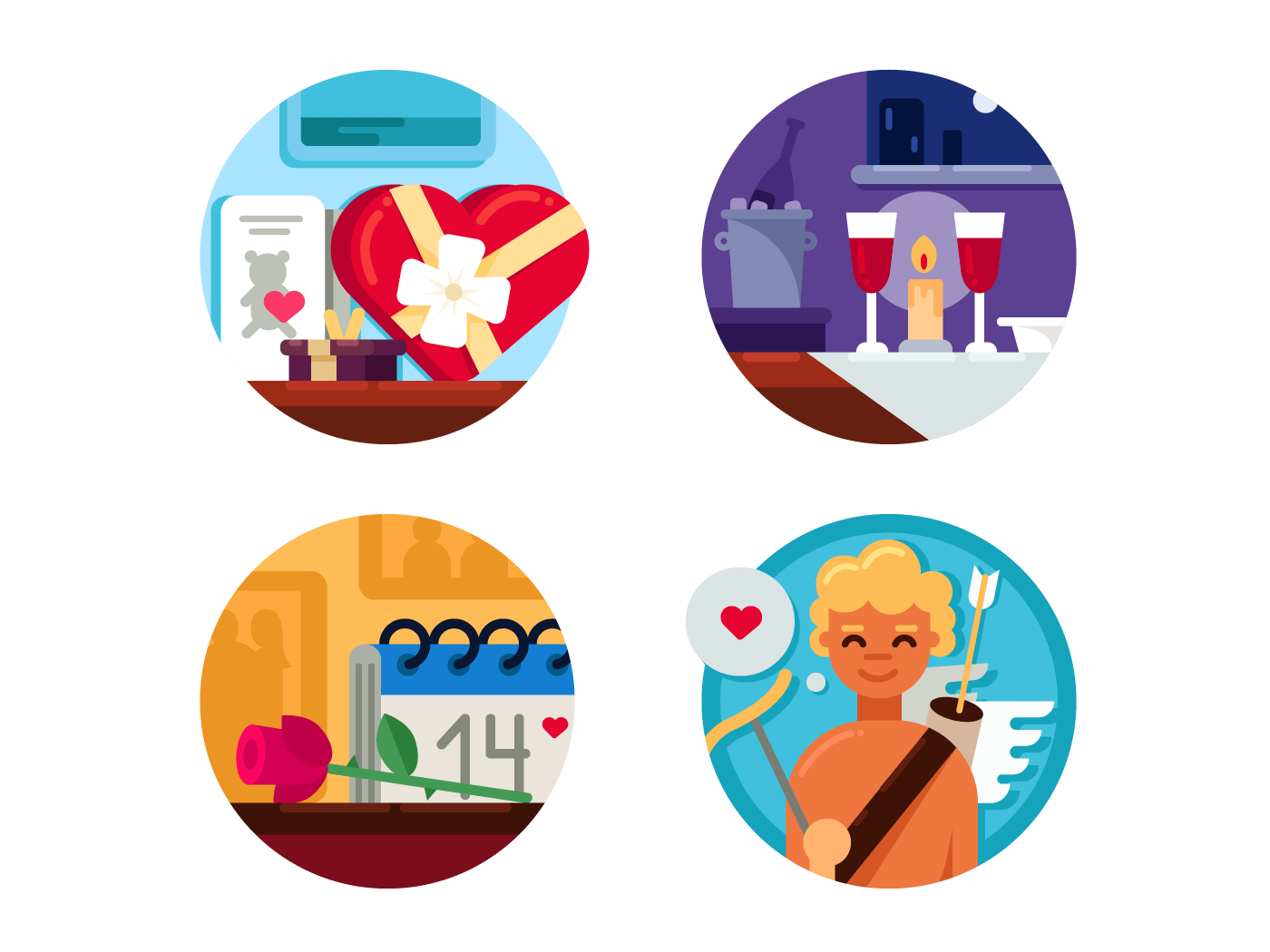 Valentine Day set of icons