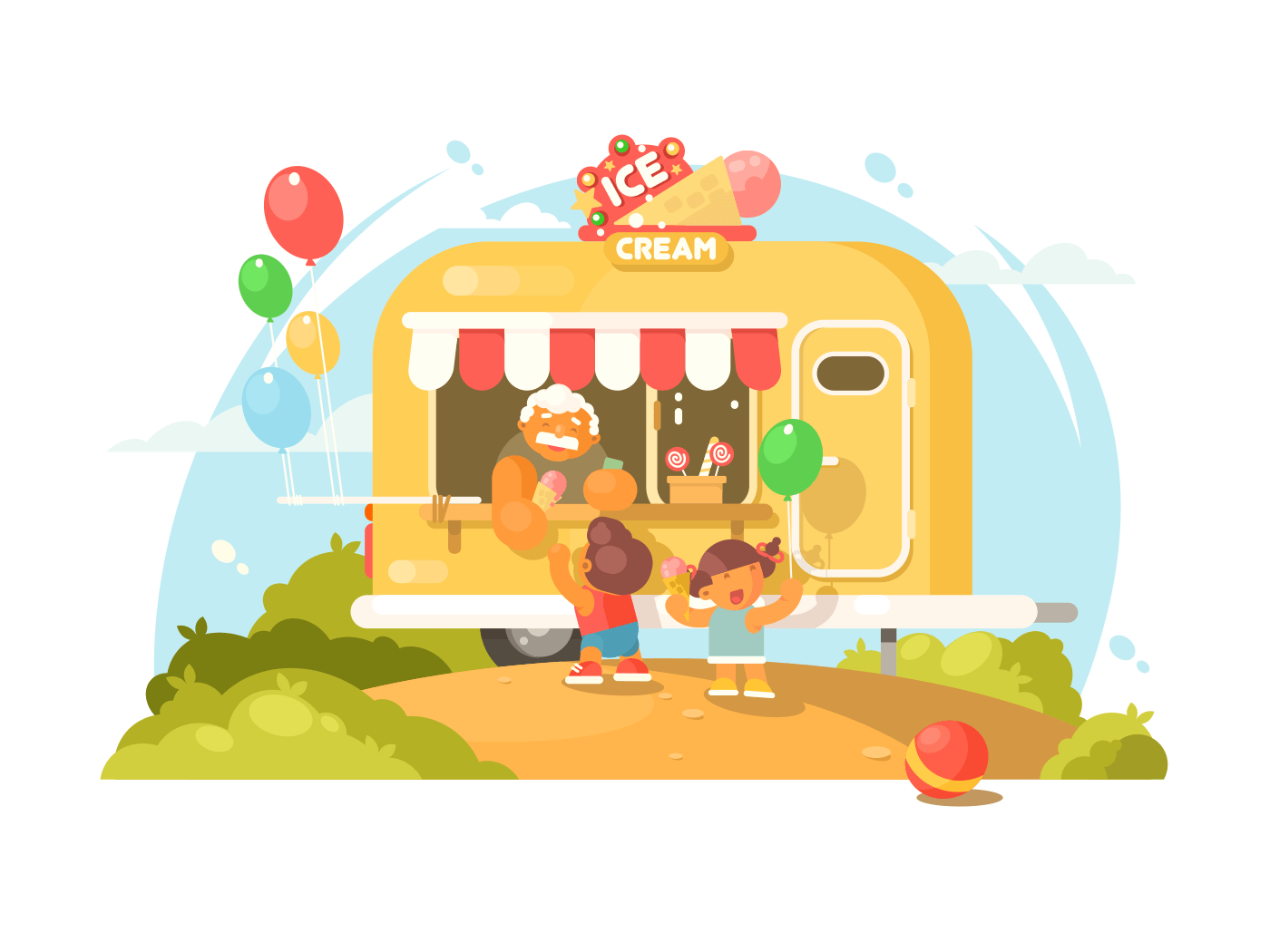 Ice cream van illustration