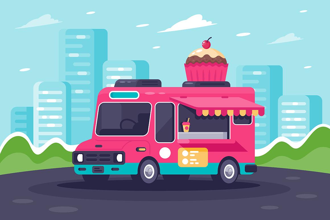 Flat urban van with sweets, cake and ice cream.