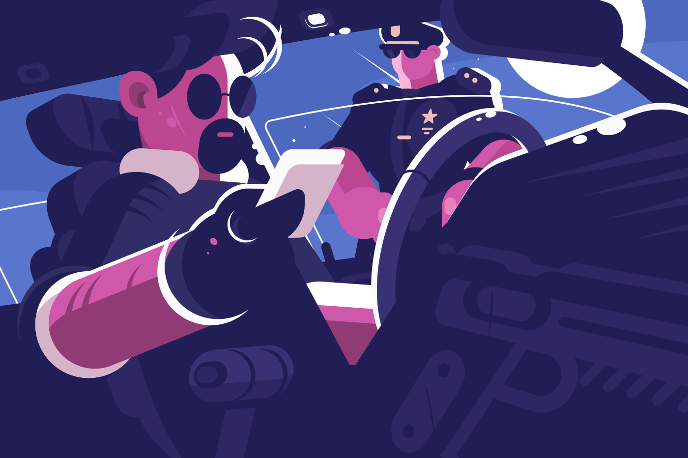Driver stop by police patrol document verification. Policeman inspection car and checking driver license or ID card. Flat style. Horizontal. Vector illustration.