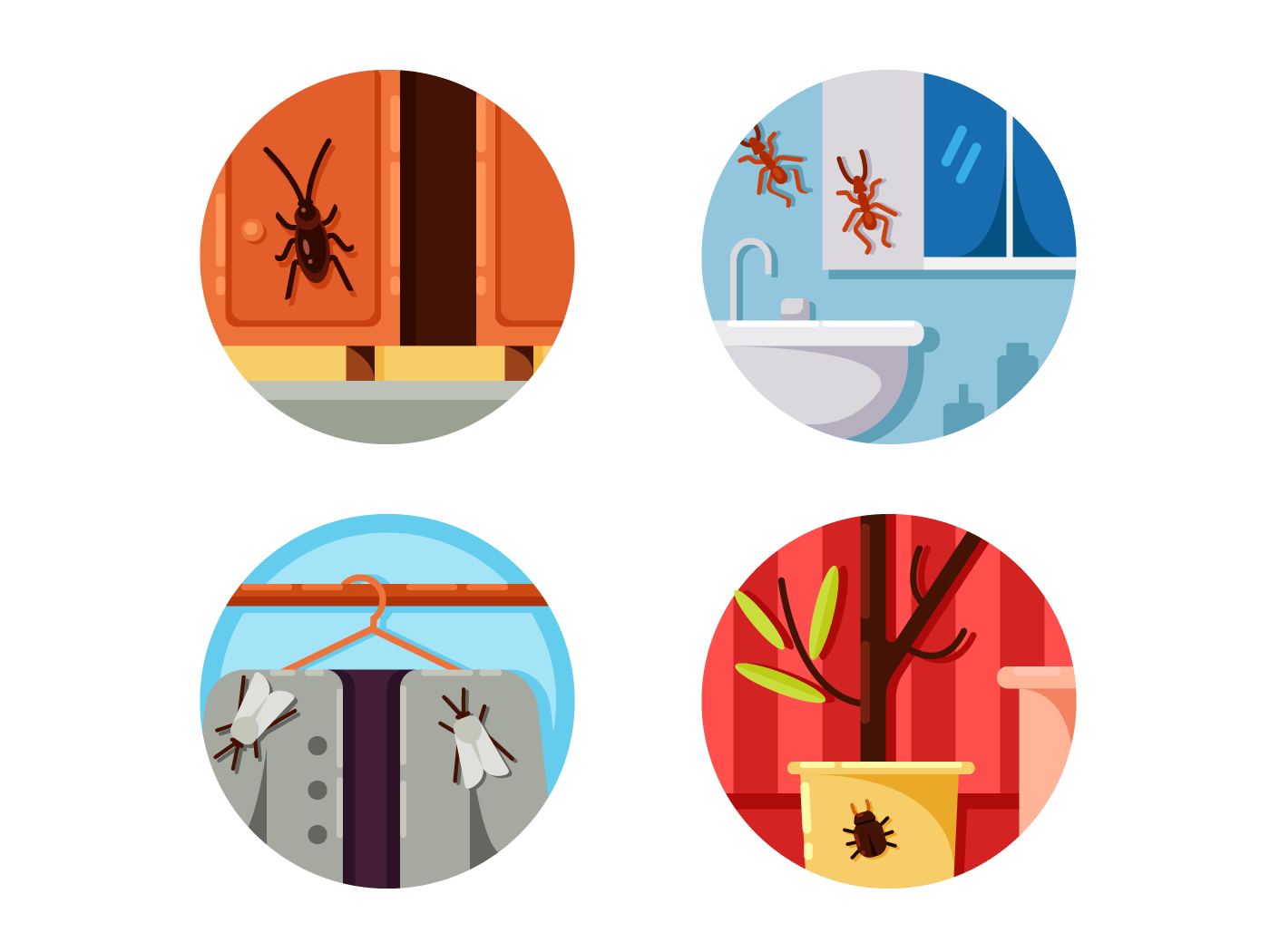 Household vermin set icons