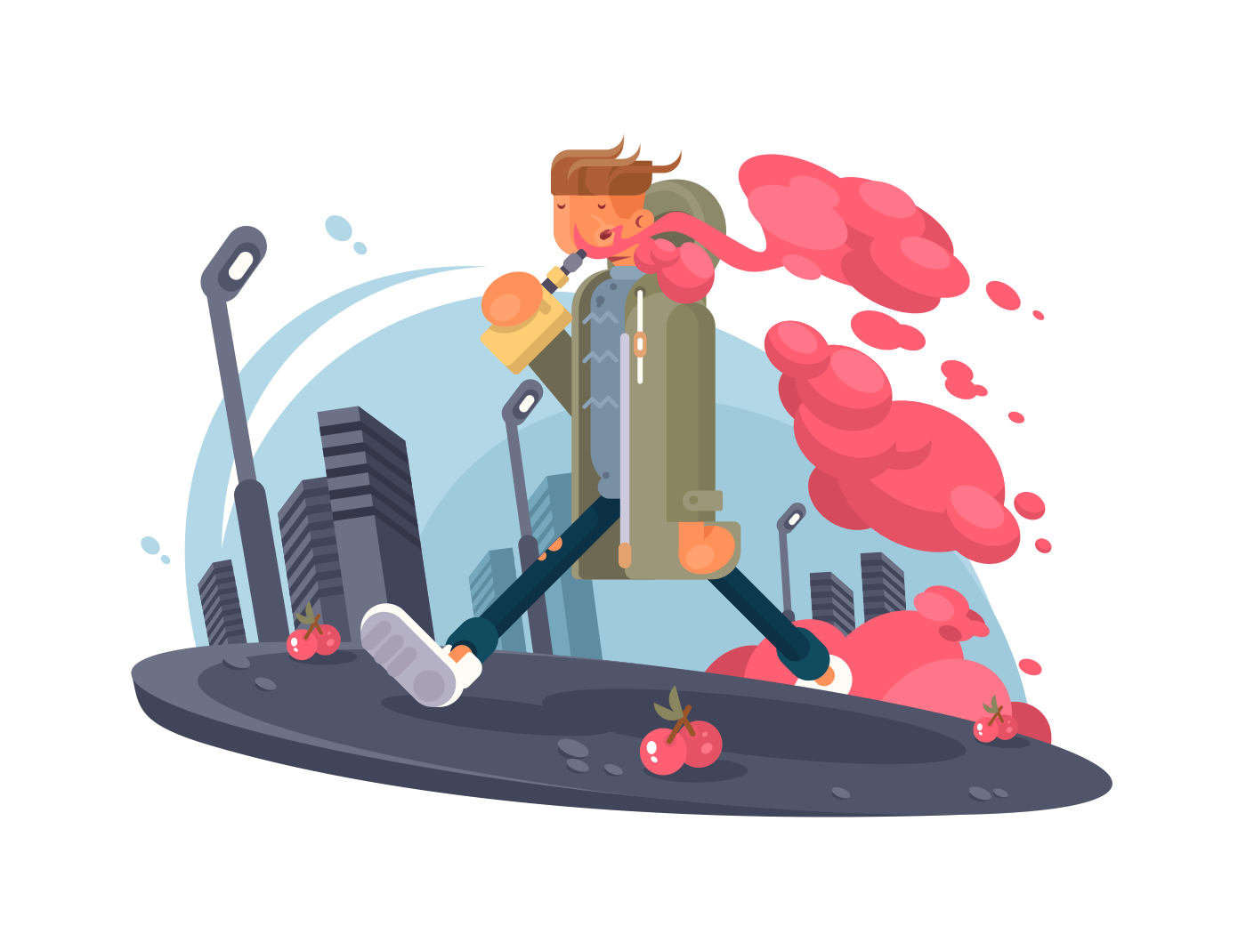 Hipster guy smoking vaper illustration