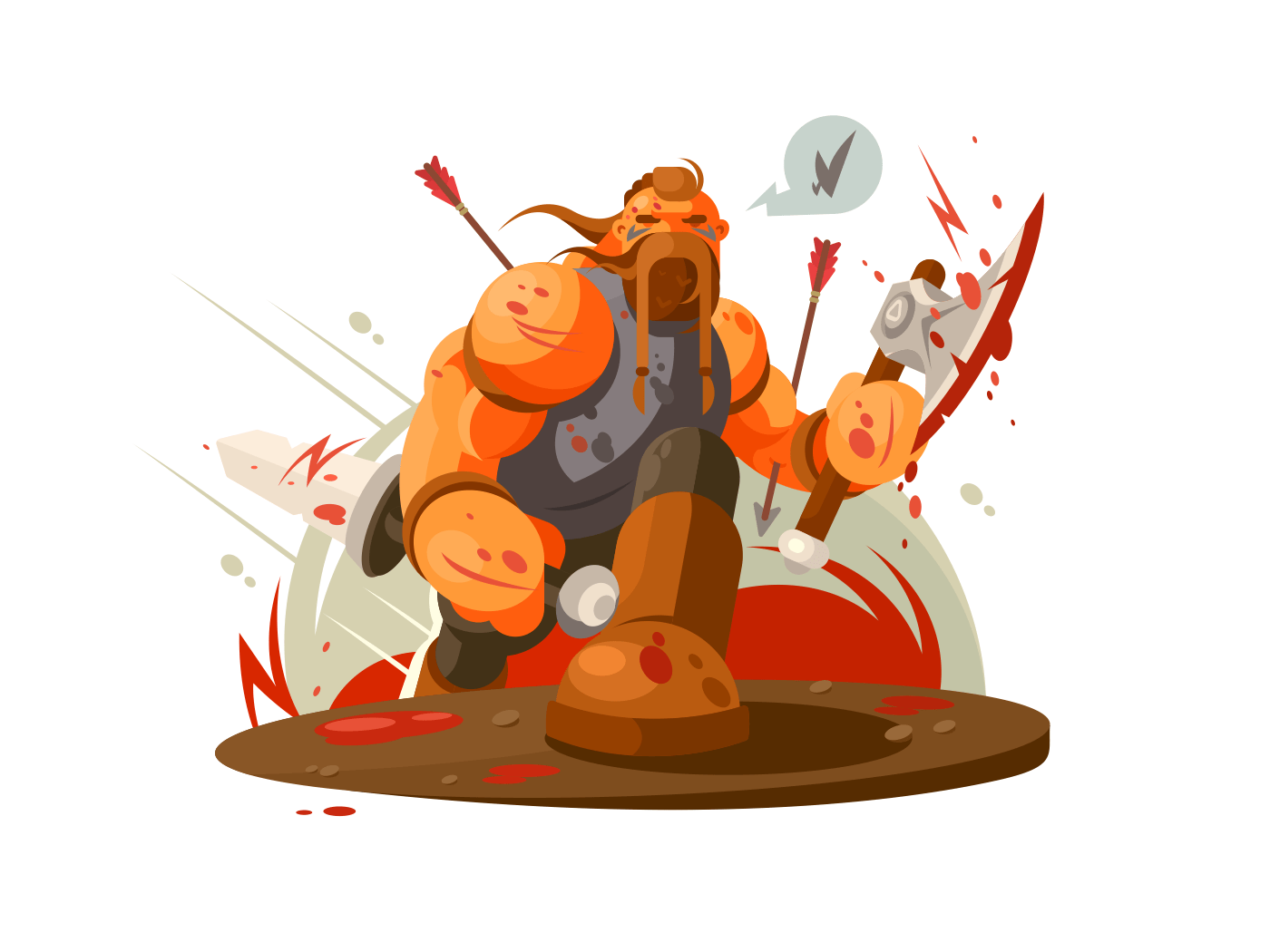 Viking battle with ax illustration