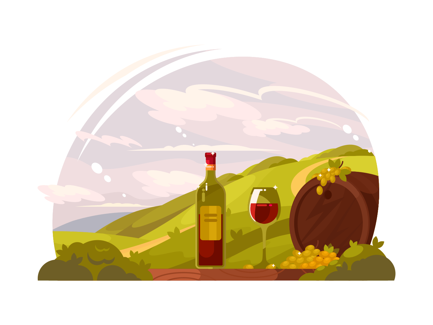 Vineyard with rich harvest illustration