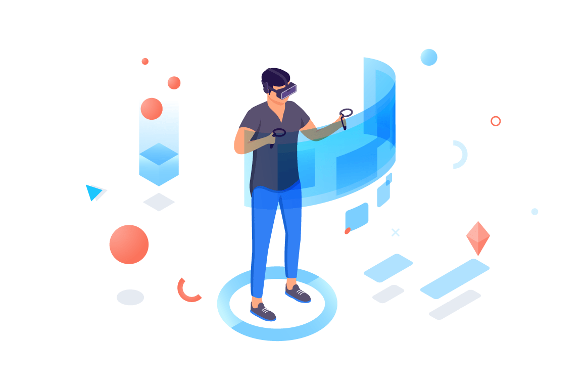 Isometric 3d man with helmet and controllers in virtual reality.