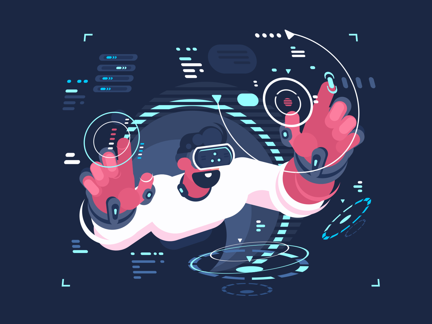 Virtual reality designer creates new digital interface. Vector flat illustration