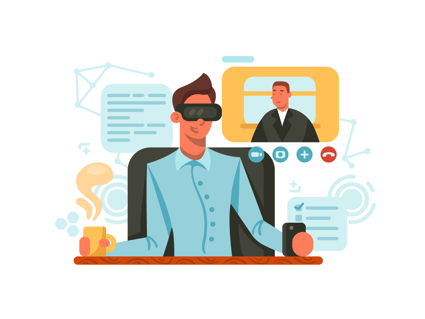 Guy with glasses of virtual reality illustration