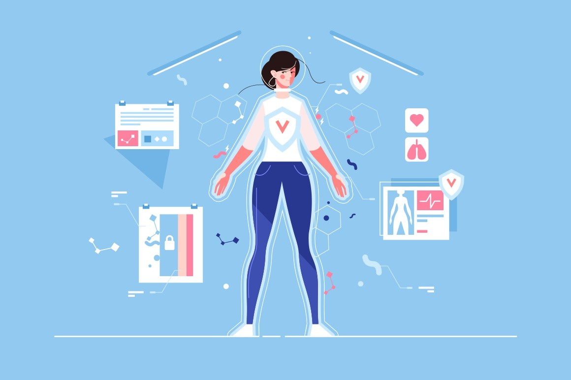 Pretty woman in virtual reality protected from viruses poster vector illustration. Smart female standing in high technological room flat style design. Internet privacy concept