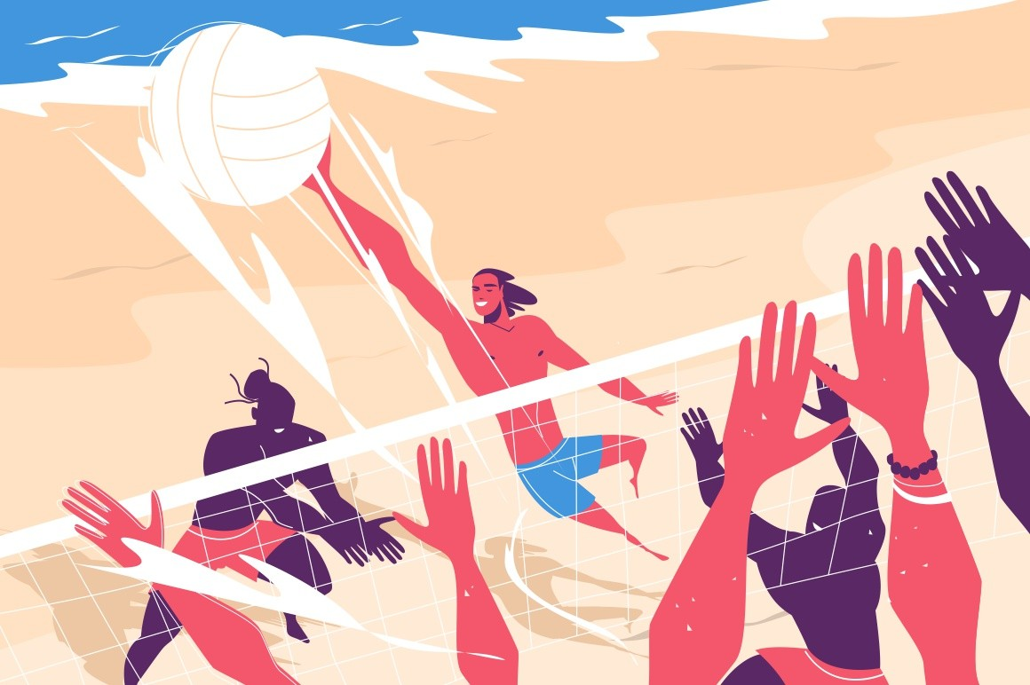 Young people playing volleyball vector illustration. Fun and active sport game on beach flat style. Hot summer weather. White ball and people hands. Sand and ocean. Vacation concept