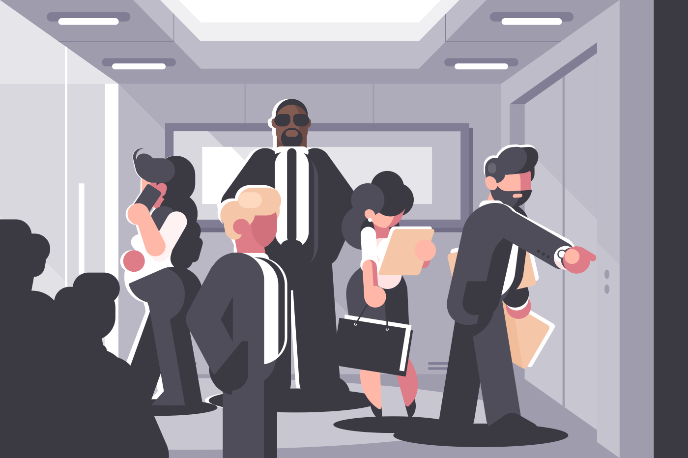 Businessmen and businesswoman waiting for elevator on level. Vector illustration