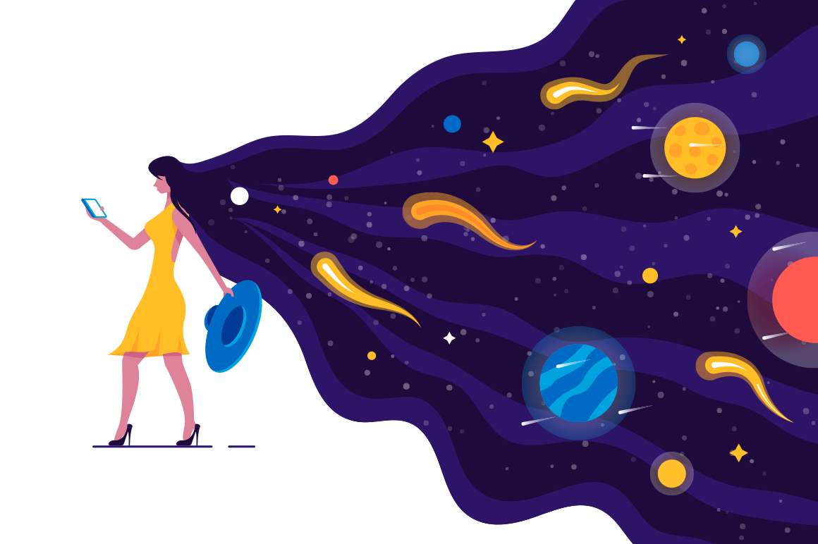 Walking girl with amazing hair vector illustration. Fashionable young woman holding smartphone. Female in yellow dress with space hairstyle taking off blue hat flat style concept