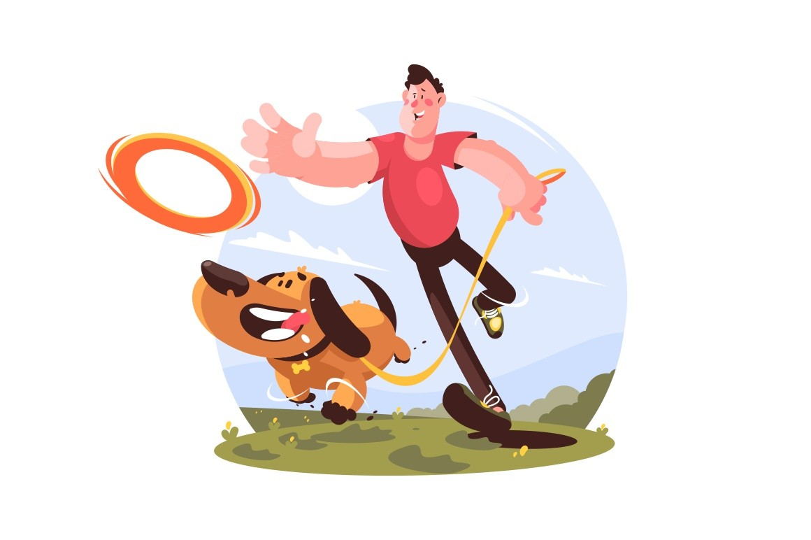 Man walking and playing with dog in park vector illustration. Fresh grass in flat style. Domestic animal and fun concept. Sunny happy day. Isolated on white background