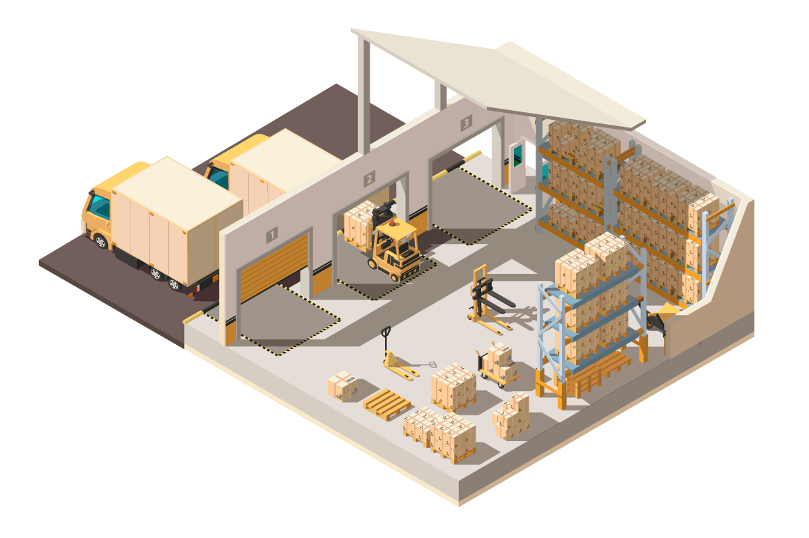 Isometric 3d warehouse with parking, shipment truck, forklift and box for delivery.