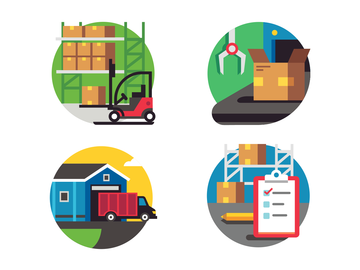 Icons warehouse and logistic flat vector icons