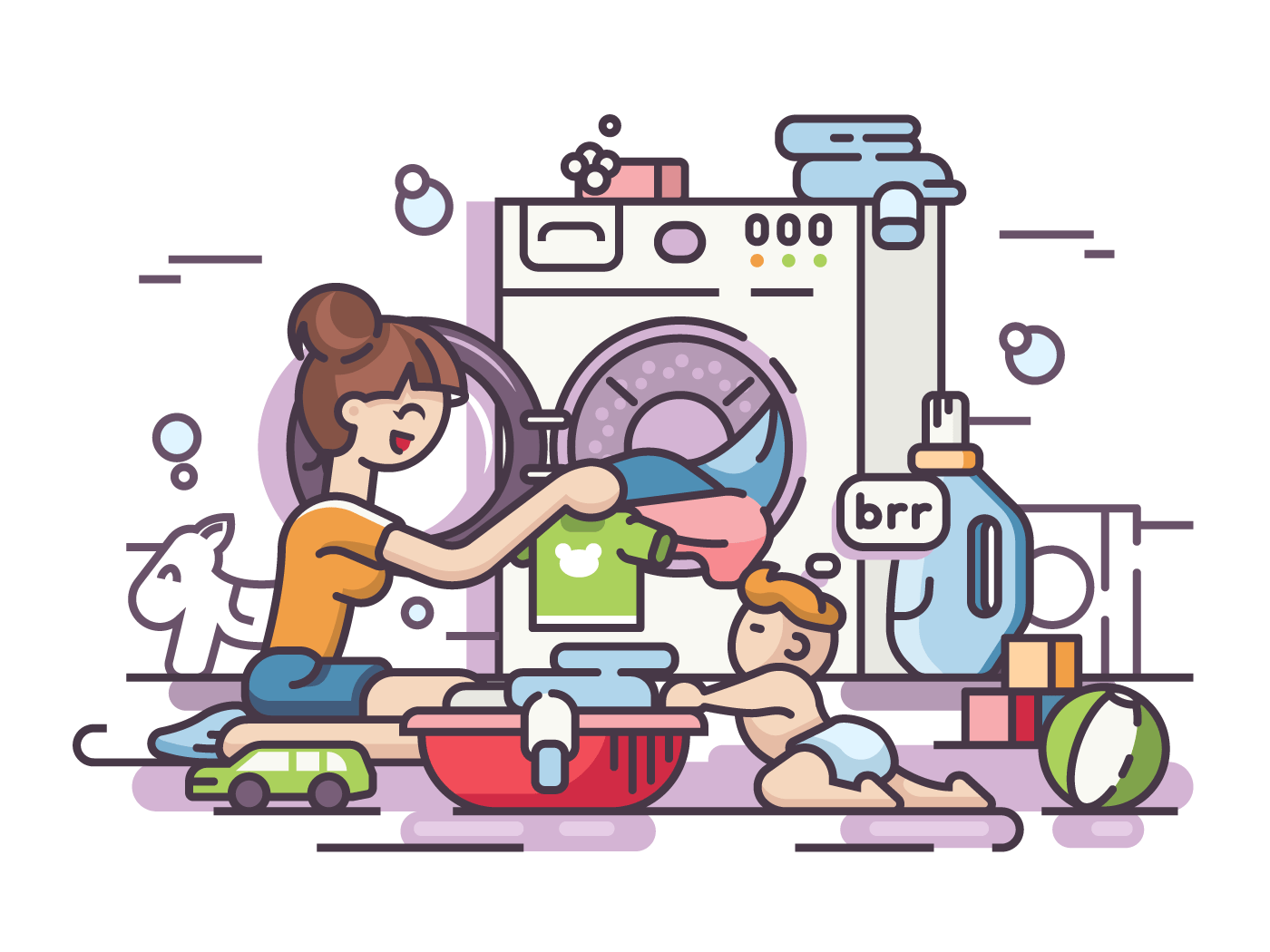 Young mother and small child washing clothes. Vector flat illustration