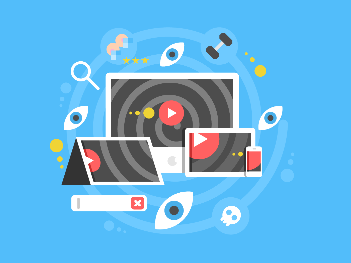 Watch video concept flat vector illustration