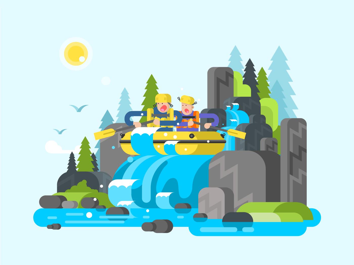 Water river slalom rafting flat vector illustration