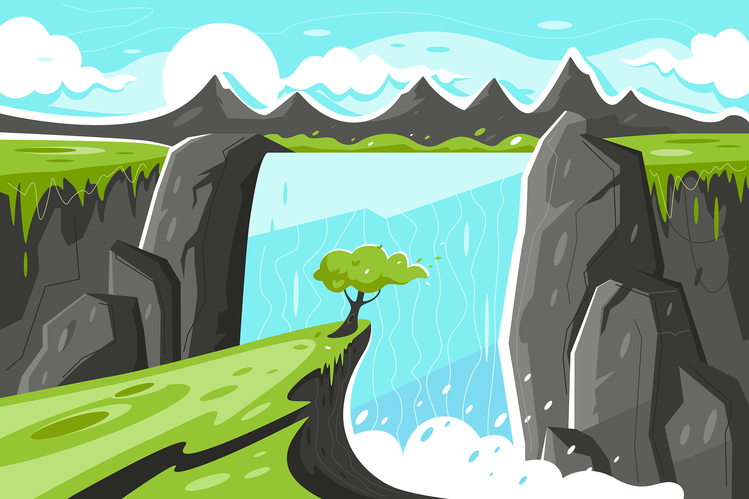Flat waterfall with tree on green plain and mountain background.