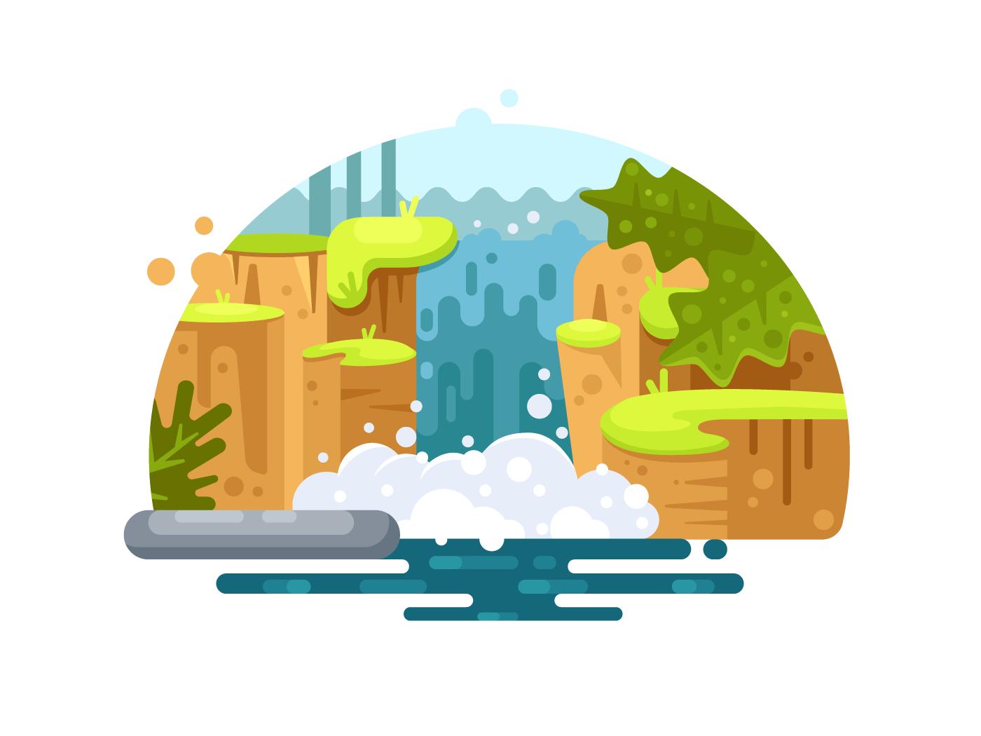 Natural river waterfall illustration