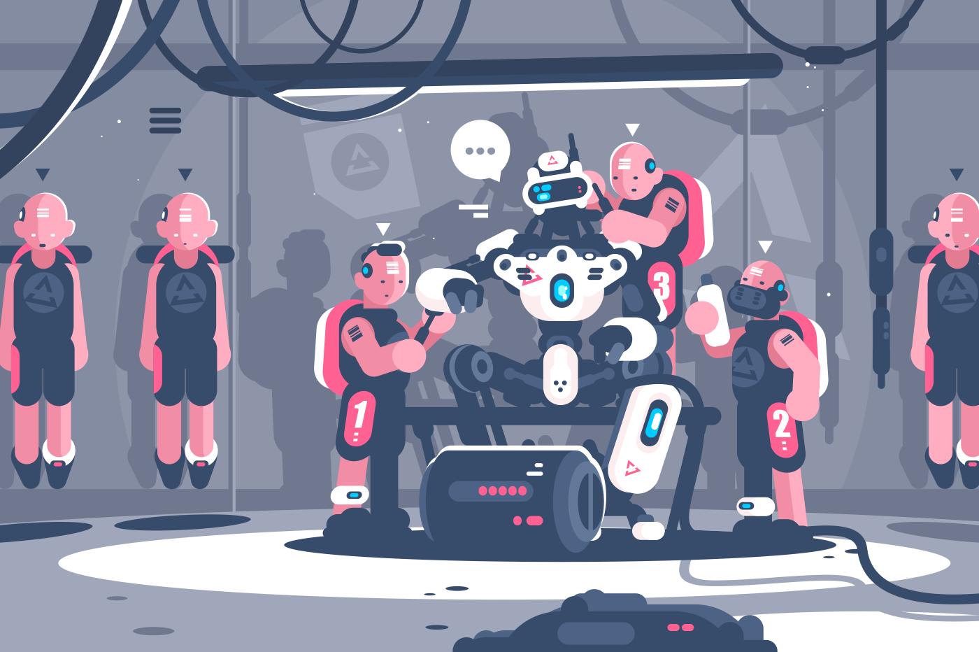 People slaving artificial intelligence robotic boss. Cyborg clone human suit servant for robot. Flat . Vector illustration