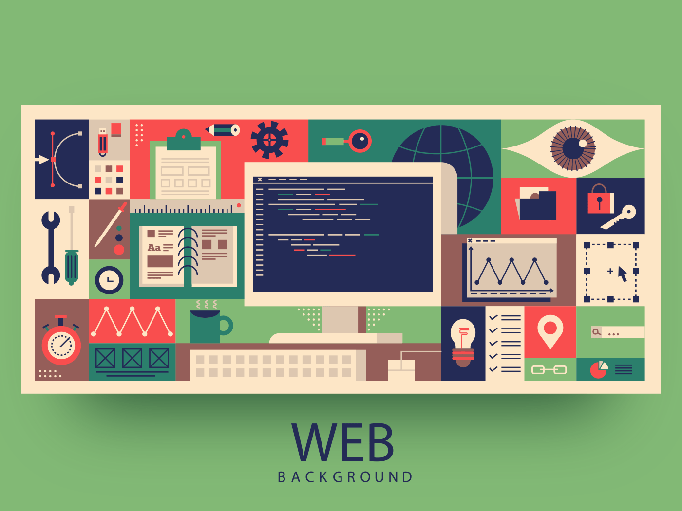 Web programming background vector illustration