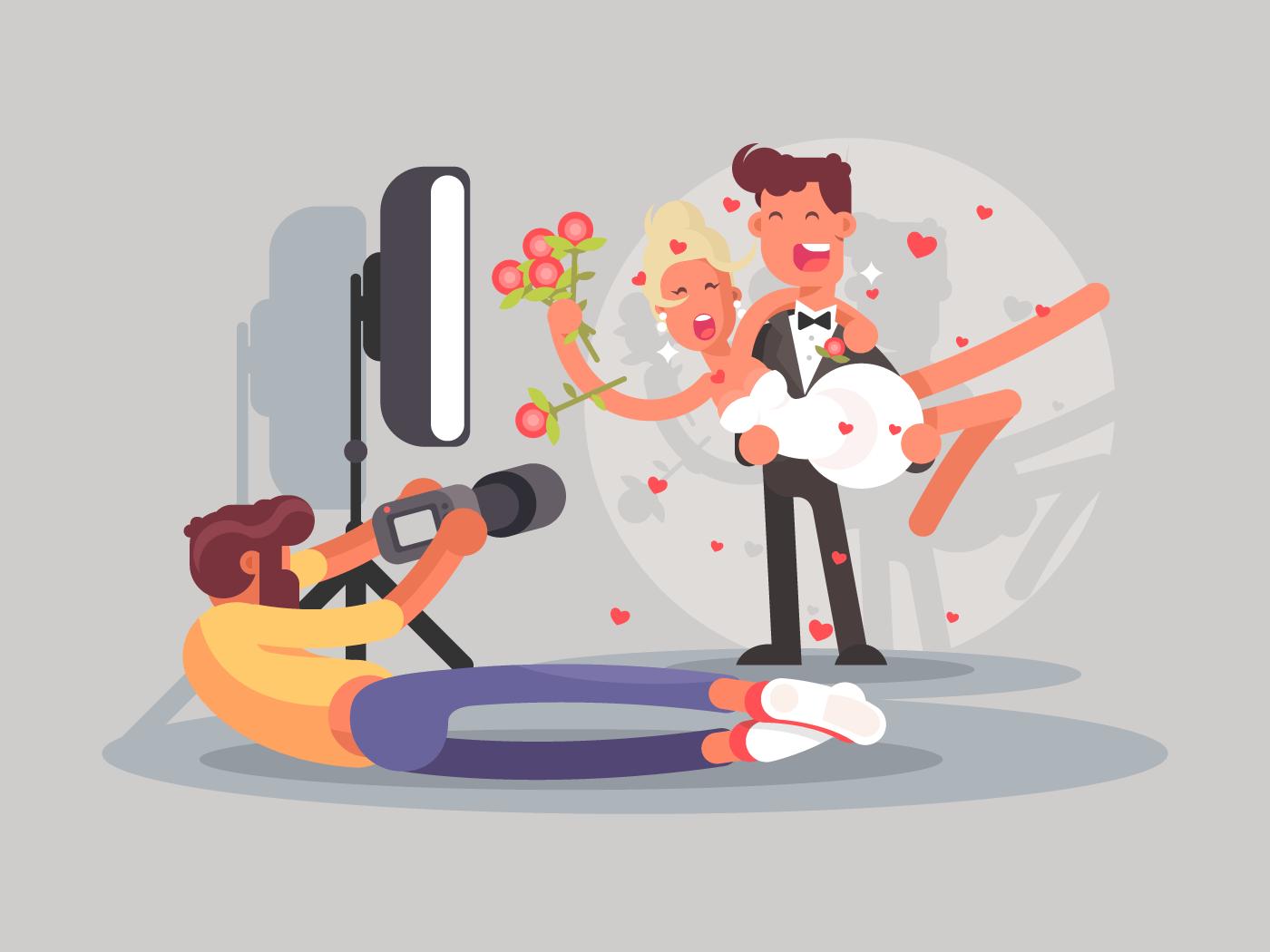 Wedding photographer flat vector illustration