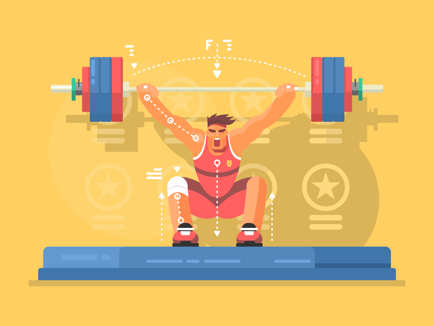 Weightlifting competitions flat vector illustration