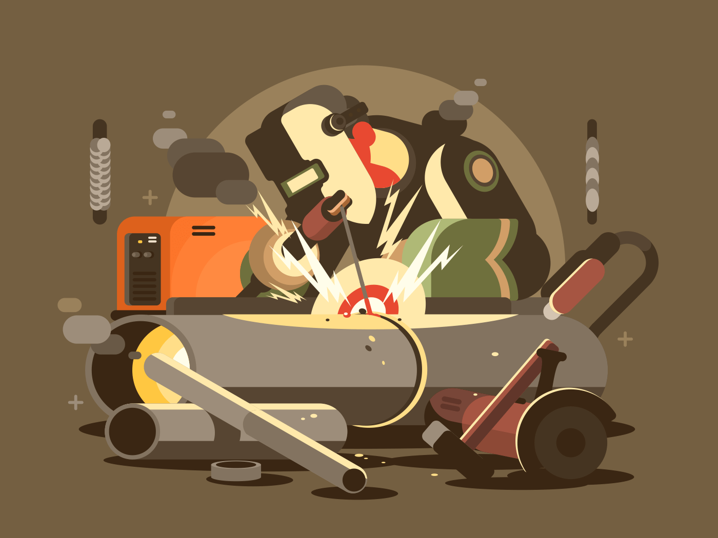 Man welder in mask cuts metal in workshop. Vector illustration