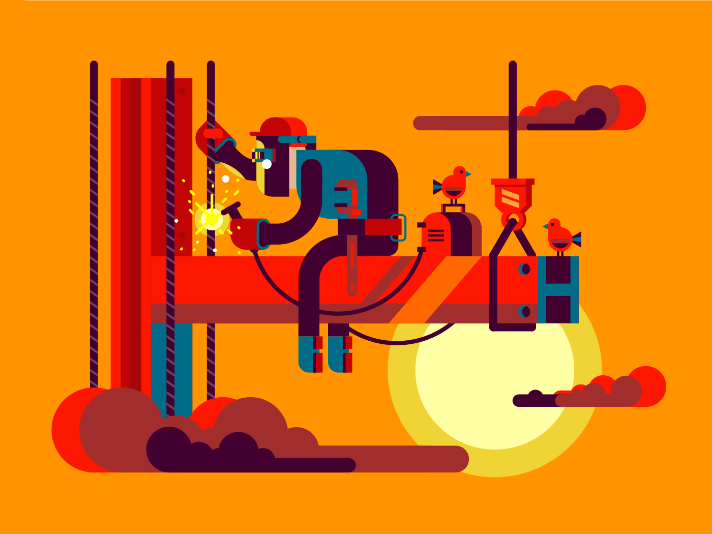Welder climber flat vector illustration