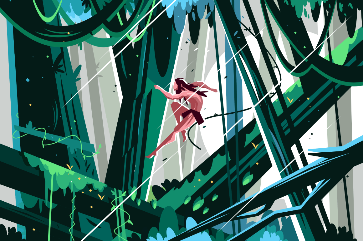 Wild man jumping in jungles vector illustration. Feral boy swinging on vine in the thickets of the rainforest. Male hopping from branch to branch flat style concept