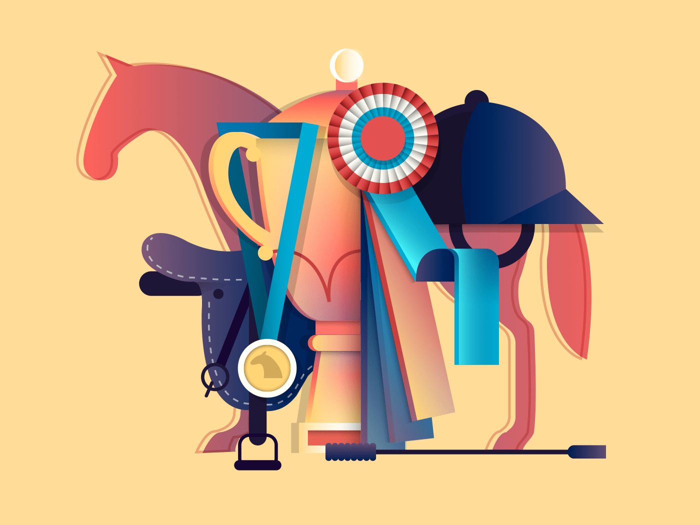 Win in equestrian sport illustration