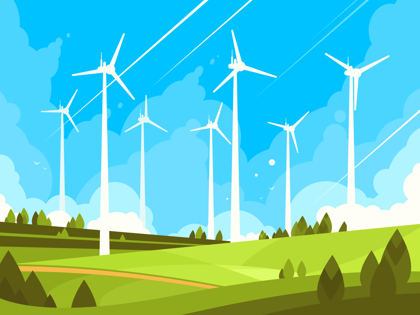Windmills on green fields. Eco energy in nature. Vector illustration