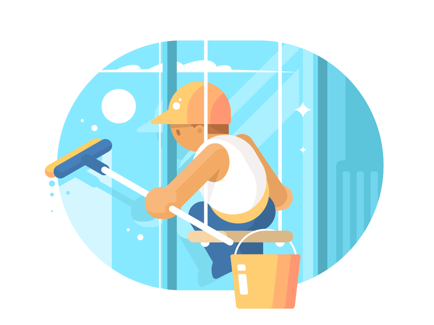 Window cleaner washes glass illustration