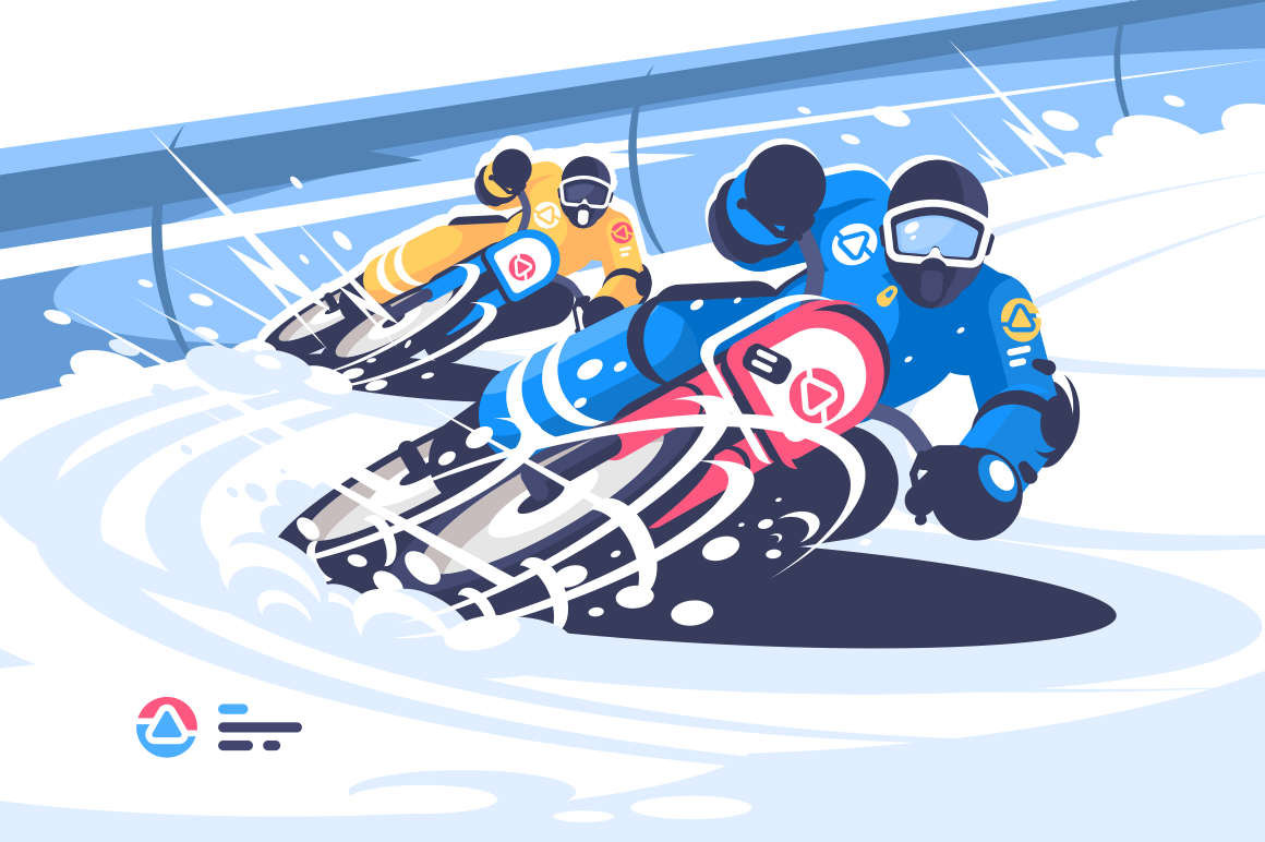 Winter motocross flat style poster. Men taking part in riding competition vector illustration. Extreme kinds of sport. Snow moto games and motorcycle racing concept