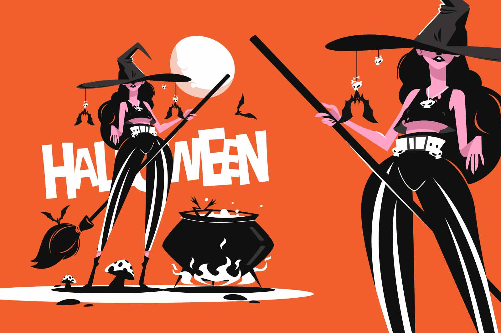 Witch in hat with broom vector illustration. Boiler and creepy atmosphere flat style. Full moon and autumn halloween holiday concept. Isolated on orange background