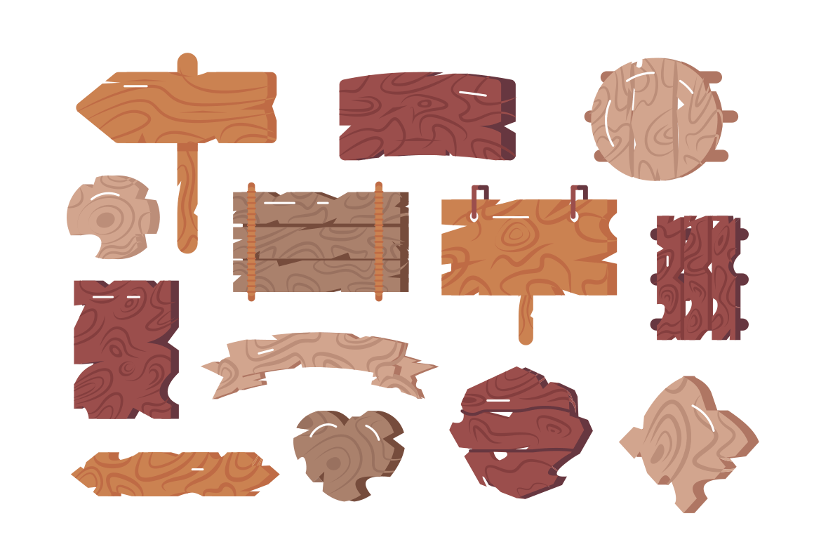 Wooden signs set vector illustration. Collection consists of empty advertising pointer signage and signboards for bars pubs and workshops flat style concept. Isolated on white