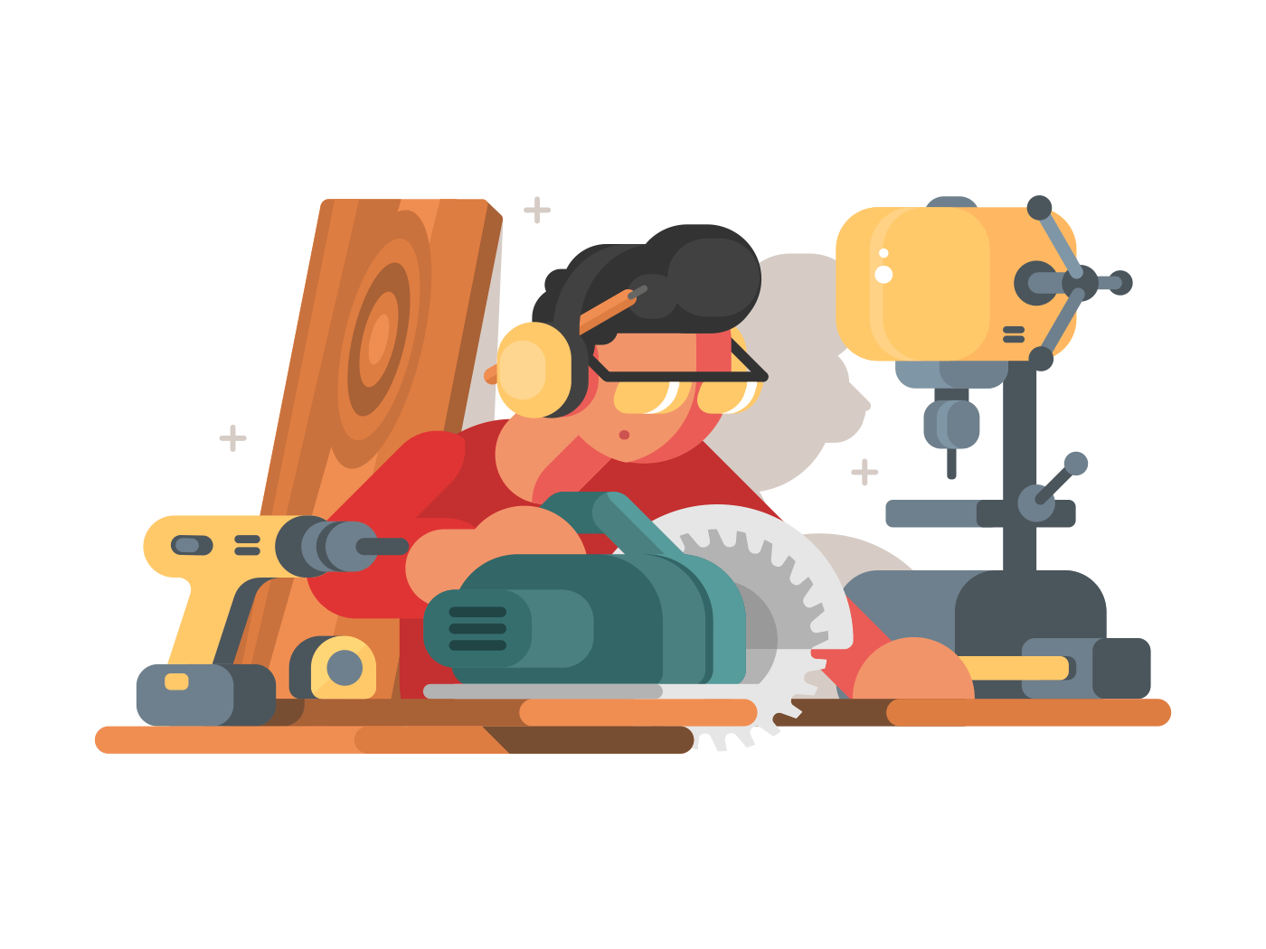 Woodworker man at workplace. Carpenter works with wood tool. Vector illustration