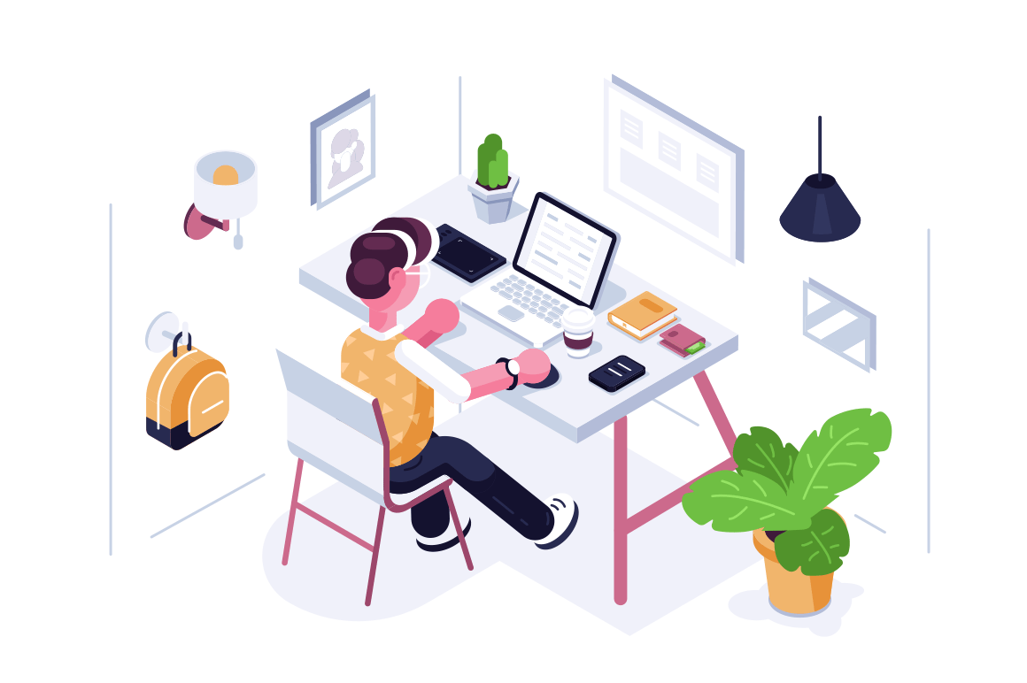 Man working at desk vector illustration. Boy sitting at workplace creating new project. Worker typing on laptop and drinking coffee. Cabinet interior flat style concept