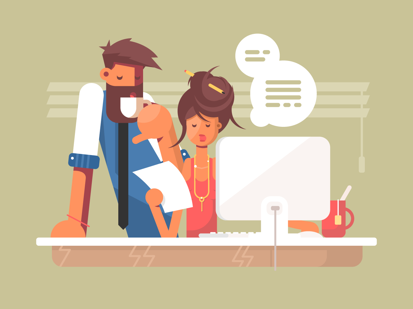 Office work day flat vector illustration