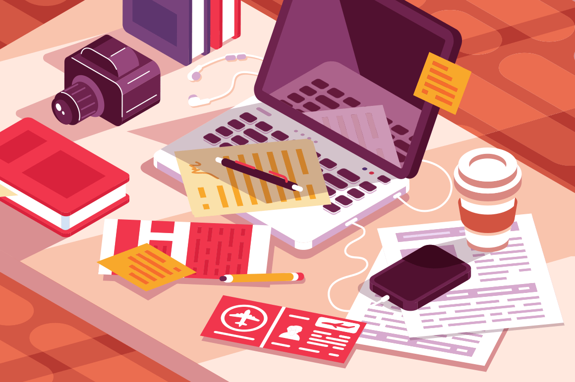 Work desk in office vector illustration. Workplace with laptop, modern smartphone, camera, documents, flight tickets and cup of coffee flat style concept
