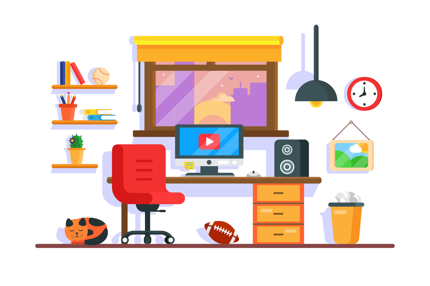 Work desk with personal accessories at home for work and relax. Concept workplace with equipment and pet, cat. Vector illustration.