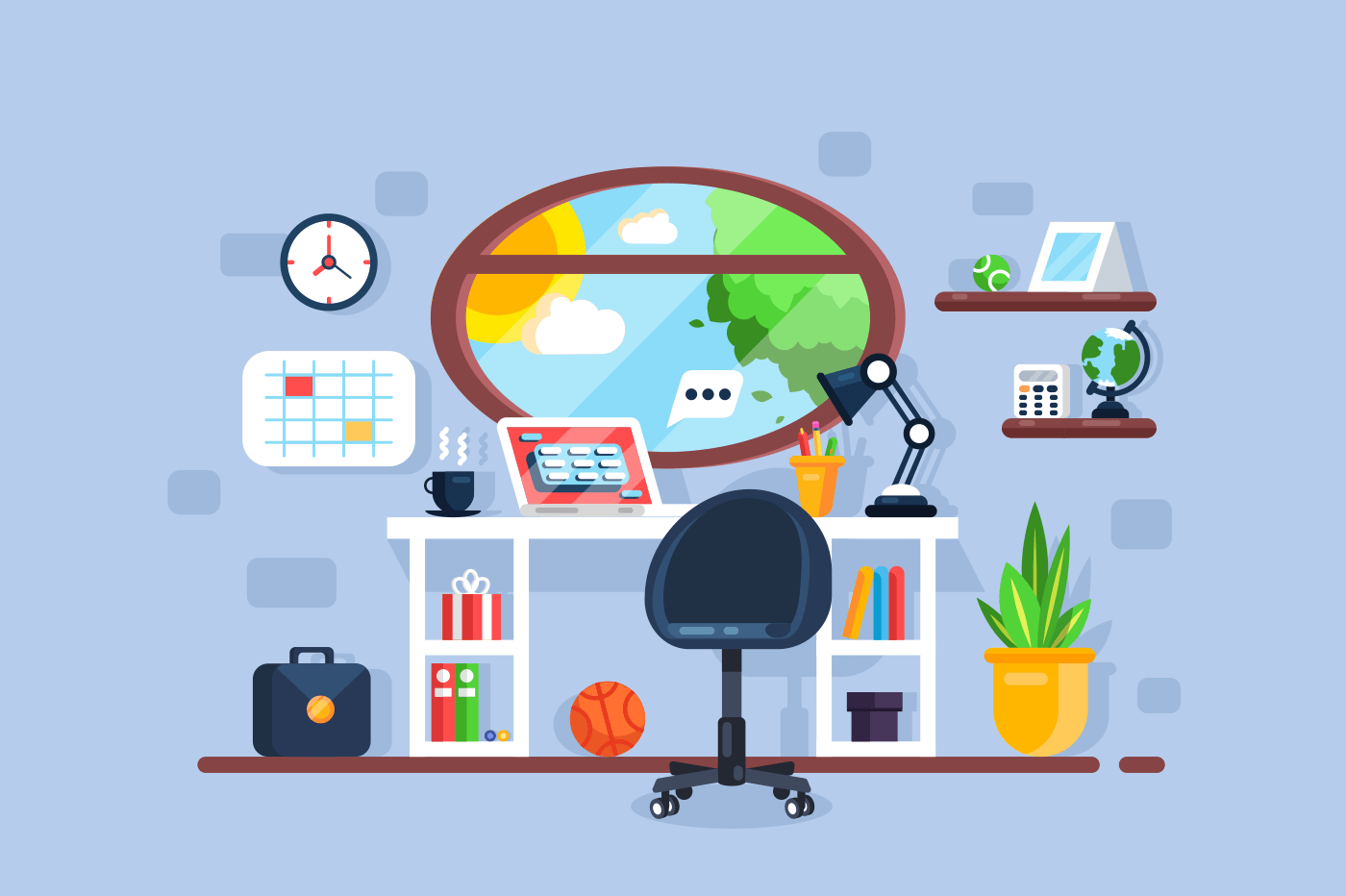 Creative freelancer workplace interior with window table chair laptop. Work desk concept. Flat style. Vector illustration.