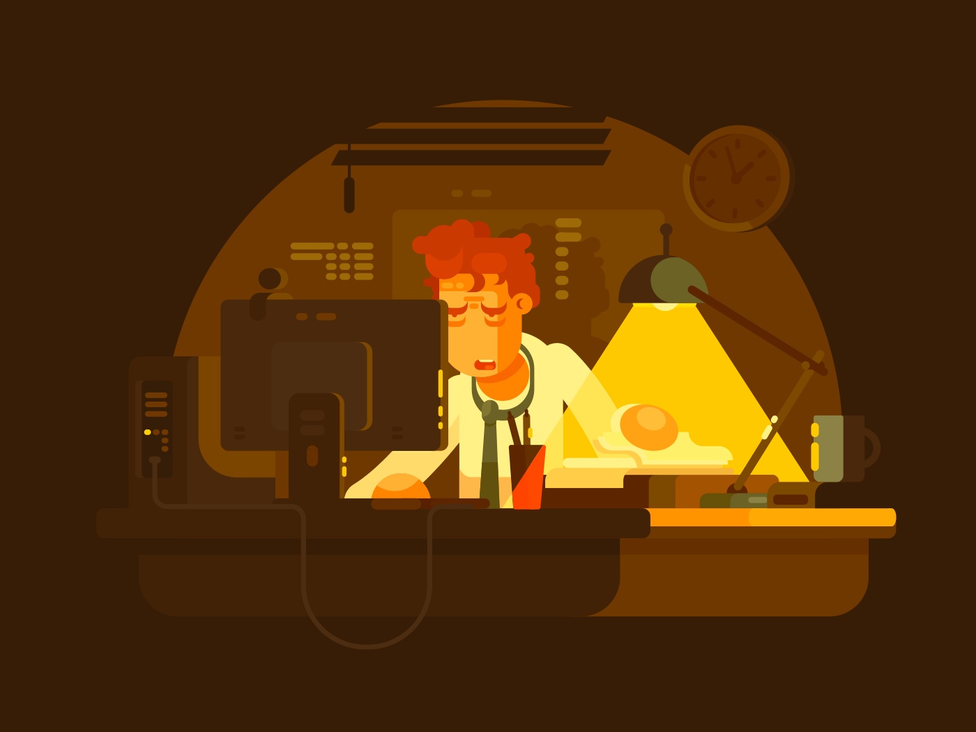 Tired man working late illustration