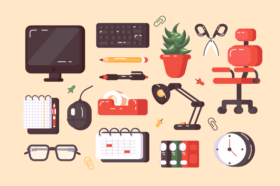 Workplace supplies set vector illustration. Composition consists of pc lamp notebook chair clock keyboard calendar folders flat style concept. Modern equipments for work position. Isolated on beige